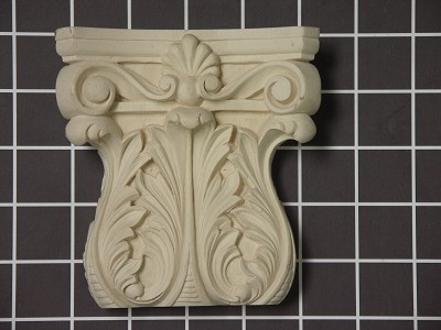 "Acanthus Leaf Capitol with Small Shell - 4-1/2"" W x 4-3/4"" H x 1-1/2"" D"