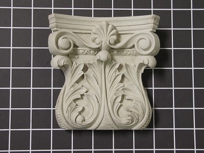 "Acanthus Leaf Capitol with Small Shell - 5-1/4"" W x 5-3/8"" H x 1-5/8"" D"