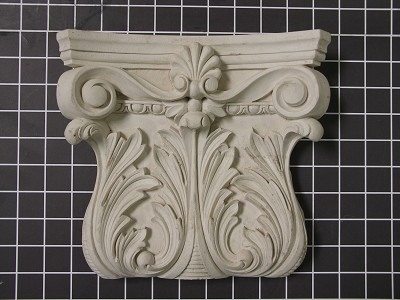 "Acanthus Leaf Capitol with Small Shell - 9-1/2"" W x 8-5/8"" H x 2-1/8"" D"