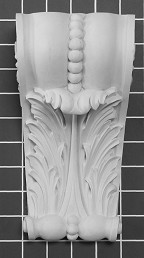 "Acanthus Leaf with Beads Corbel - 4-3/4"" W x 8-3/4"" H x 3-1/2"" D"