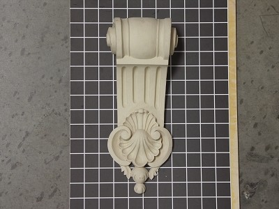 "Fluted Corbel with Shell - 4-3/4"" W x 11-3/4"" H x 3"" D"