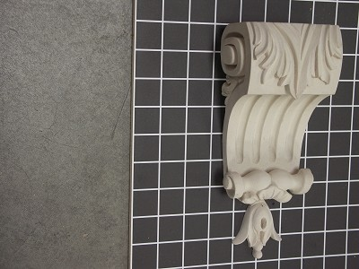 "Acanthus Leaf Corbel with Scroll - 4-1/8"" W x 8-7/8"" H x 2-7/8"" D"
