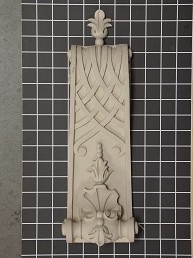 """Fleur-de-lis"" and Shell with Weaved Bottom Corbel - 5"" W x 14-3/4"" H x 2-3/8"" D"