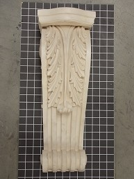 "Acanthus Leaf Corbel with Fluted Scroll - 7"" W x 19-7/8"" H x 7"" D"