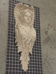 "Female Angel Corbel with Acanthus Bottom - 8-9/16"" W x 24"" H x 3-3/4"" D"