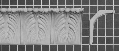 "Acanthus Leaf Crown - 57"" L x 4-3/8"" H x 3-3/8"" D"