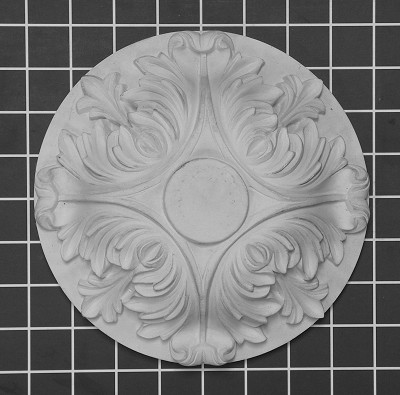 "8"" Diameter: Layered Acanthus Leaf Medallion - 7-1/8"" W x 7-1/8"" H x 2-1/2"" Thick"