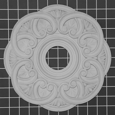 "Carved Medallion with Open Center - 11"" W x 11"" H x 1/2"" Thick"