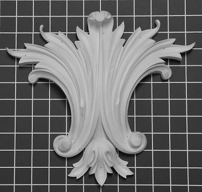 "Carved Center Piece Leaf - 11"" W x 10"" H x 1-5/8"" Thick - Architectural Decoration"