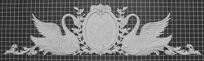 "Swans with Oval Center Piece - 45"" W x 11-3/4"" H x 1"" Thick - Architectural Decoration"