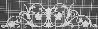 "Carved Vine Center Piece - 43"" W x 11"" H x 7/8"" Thick - Architectural Decoration"