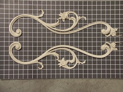 "Left and Right Flower Swags - 6"" W x 24-5/8"" H x 3/4"" Thick (Sold in Pairs) Ornamental Architectural Decoration"