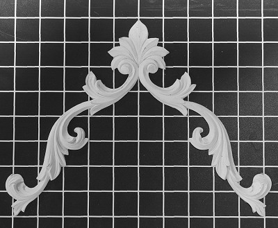 "Carved Vine with Shell Center / Corner - 11-3/4"" W x 8"" H x 3/8"" Thick - Architectural Decoration"