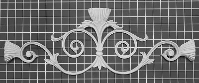 "Scroll Center - 24"" W x 8-1/2"" H x 1-1/2"" Thick - Architectural Decoration"