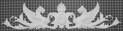"Flying Griffins with Shell Center - 44"" W x 9-1/2"" H x 1"" Thick - Architectural Decoration"