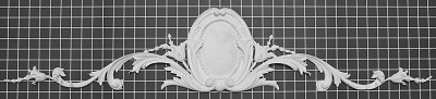 "Cartouche with Floral Vines - 40-1/2"" W x 7-3/4"" H x 3/4"" Thick - Architectural Decoration"
