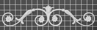 "Floral Vine with Carved Leaf Center - 17"" W x 4"" H x 1/2"" Thick - Architectural Decoration"