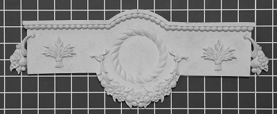 "Floral Swag Panel with Leaves - 15-1/2"" W x 6"" H x 3/4"" Thick - Architectural Decoration"
