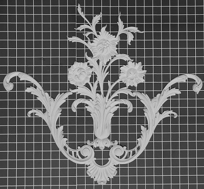 "Floral Center / Corner - 23-1/2"" W x 21-3/8"" H x 1/2"" Thick - Architectural Decoration"
