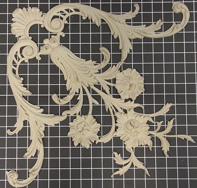 "Floral Center / Corner - 17-3/4"" W x 17-3/4"" H x 1/2"" Thick - Architectural Decoration"