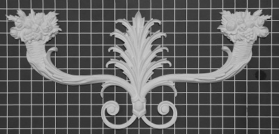 "Floral Center - 22"" W x 10"" H x 3/4"" Thick - Architectural Decoration"