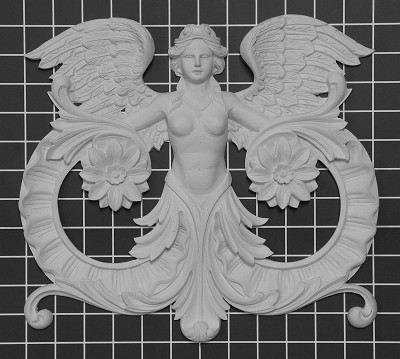 "Female Angel Center - 12-1/2"" W x 11-1/2"" H x 1"" Thick - Architectural Decoration"