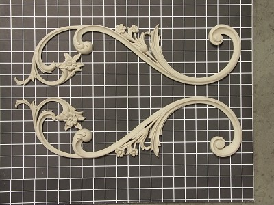 "Left and Right Flower Stem Swags - 5-1/4"" W x 19-3/4"" H x 5/8"" Thick (Sold in Pairs) Ornamental Architectural Decoration"