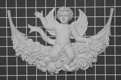 "Matthew's Angel on Floral Festoon - 10-7/8"" W x 7"" H x 1-3/4"" Thick - Architectural Decoration"