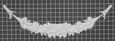 "Floral Festoon - 24-3/4"" W x 7-3/4"" H x 3/4"" Thick - Architectural Decoration"