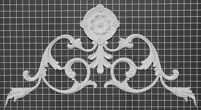 "Carved Floral Vines Center / Corner - 22-1/2"" W x 22-1/2"" H x 3/8"" Thick - Architectural Decoration"
