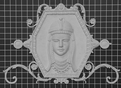 "Cleopatra on Octagon Panel - 21"" W x 14-1/4"" H x 1-3/4"" Thick - Architectural Decoration"