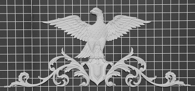 "Eagle on Shield - 22-7/8"" W x 9-3/4"" H x 5/8"" Thick - Architectural Decoration"