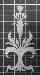 "Floral Vine Scroll - 5-7/8"" W x 12-1/4"" H x 1/2"" Thick - Architectural Decoration"