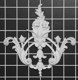 "Floral Scroll Center / Corner - 6-1/4"" W x 6-1/4"" H x 5/8"" Thick - Architectural Decoration"