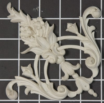 "Floral Scroll Center / Corner - 4-1/2"" W x 4-1/2"" H x 5/8"" Thick - Architectural Decoration"