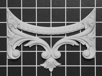 "Scroll Arch Center - 6"" W x 4-1/4"" H x 3/4"" Thick - Architectural Decoration"
