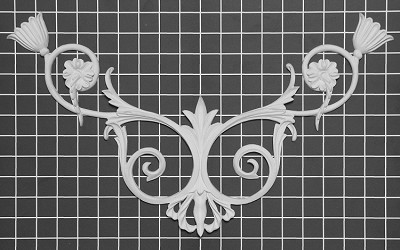 "Vine Scroll Center / Corner - 18-3/4"" W x 11"" H x 1/2"" Thick - Architectural Decoration"