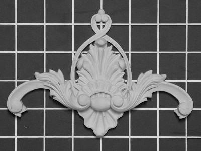 "Scroll with Shell Center / Corner - 6-1/2"" W x 4-1/2"" H x 3/4"" Thick - Architectural Decoration"