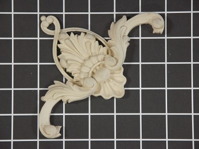 "Scroll with Shell Center / Corner - 5"" W x 5"" H x 3/4"" Thick - Architectural Decoration"