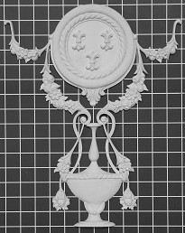 "Shield with Floral Festoons on Urn - 12-3/4"" W x 15"" H x 3/4"" Thick - Architectural Decoration"