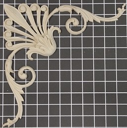 "Scroll with Leaf Center / Corner - 11"" W x 11"" H x 5/8"" Thick - Architectural Decoration"