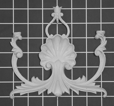 "Scroll with Shell Center - 6-1/4"" W x 6-1/2"" H x 5/8"" Thick - Architectural Decoration"