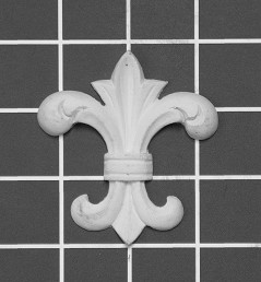 "Fleur De Lys - 2-7/8"" W x 2-5/8"" H x 1/2"" Thick - Architectural Decoration"