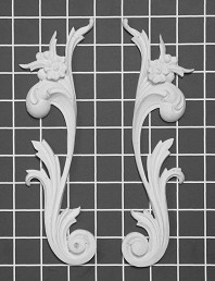 "Left and Right Floral Scroll - 2-3/4"" W x 9"" H x 5/8"" Thick (Sold in Pairs) Ornamental Architectural Decoration"