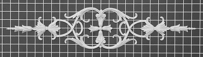 "Scroll with Center Cross - 23-3/8"" W x 5"" H x 1/2"" Thick - Architectural Decoration"
