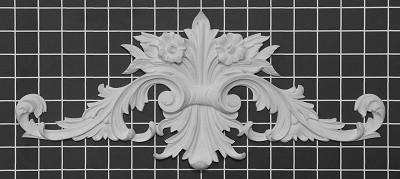 "Acanthus Leaf & Scroll Center - 15-7/8"" W x 6-7/8"" H x 3/4"" Thick - Architectural Decoration"