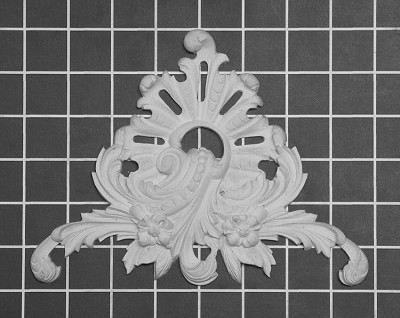 "Floral Scroll Center / Corner - 7-3/4"" W x 5-7/8"" H x 3/4"" Thick - Architectural Decoration"