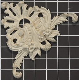 "Floral Scroll Center / Corner - 6-3/4"" W x 6-3/4"" H x 3/4"" Thick - Architectural Decoration"