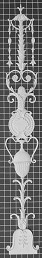 "Stem Scroll with Medallion & Urn - 5-5/8"" W x 43"" H x 1/2"" Thick - Architectural Decoration"