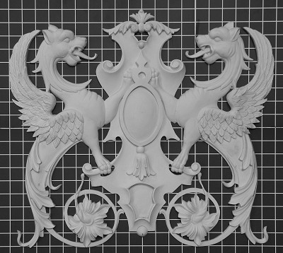 "Griffins with Shield - 20"" W x 18"" H x 1"" Thick - Architectural Decoration"